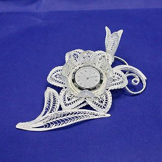 "Souvenir ""Lily c clock"" silvering, Kazakovskaya Filigree"