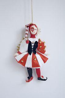 "Doll pendant souvenir porcelain. Venetian carnival ""cracker""."