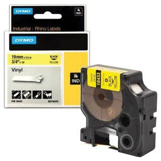 DYMO Rhino Label Printer Cartridge, 19mm x 5.5m, Vinyl Tape, Black, Yellow