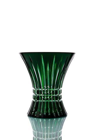 """Crystal vase for flowers """"Imperial"""" small green"""