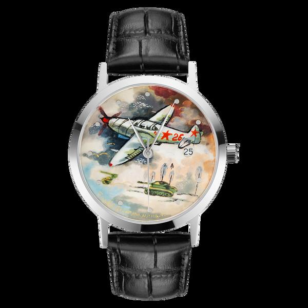 "Palekh watch ""Aviation №54"" quartz, hand-painted, artist Mamina, black band"