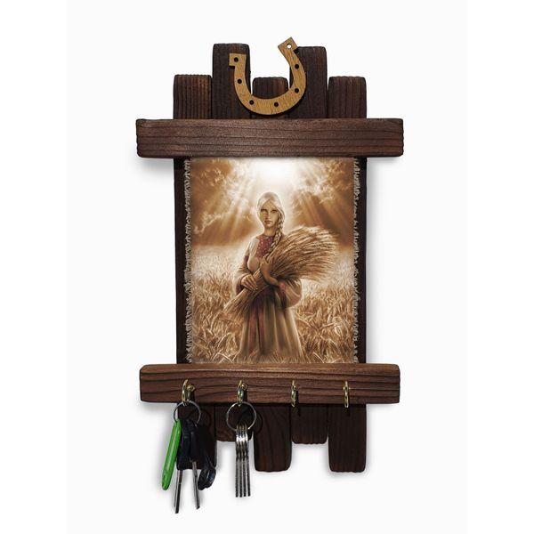 "Universal scroll / Handmade wooden wall key holder ""Harvest"""