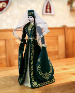 Ossetian doll in a velvet suit with embroidered patterns, Asik, 35 cm