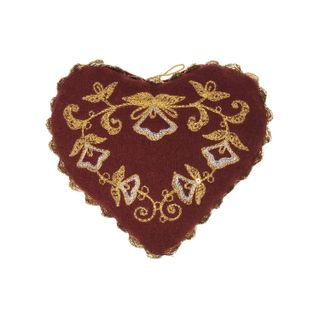 """Pin cushion """"Golden Heart"""" with gold and silver embroidery"""