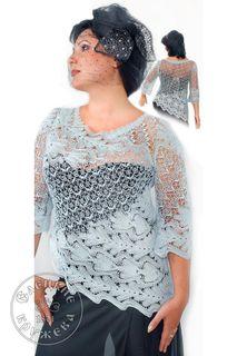 Women's chiffon blouse lace blue