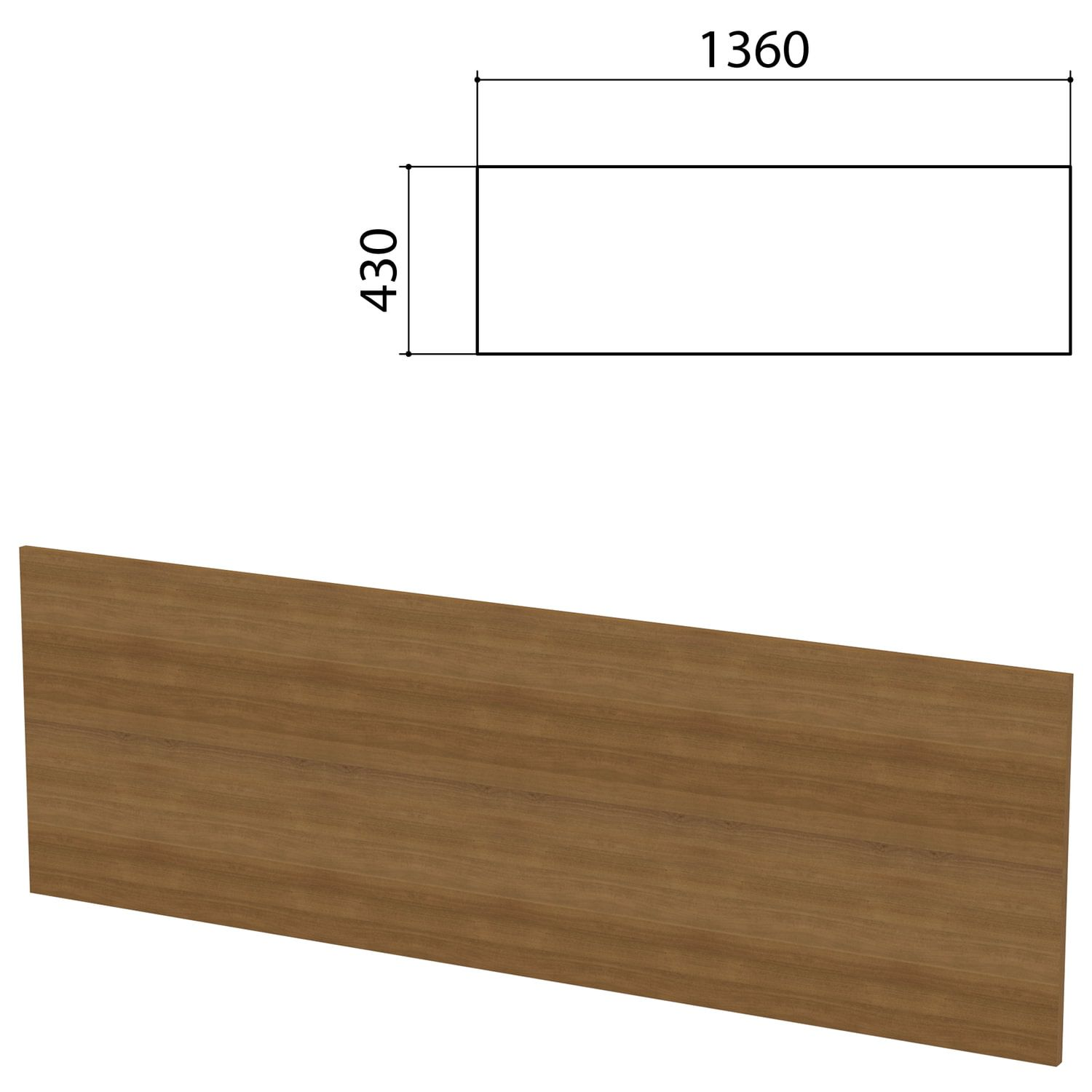 """Screen partition """"Budget"""", 1360х16х430 mm, WITHOUT ACCESSORIES, French walnut"""