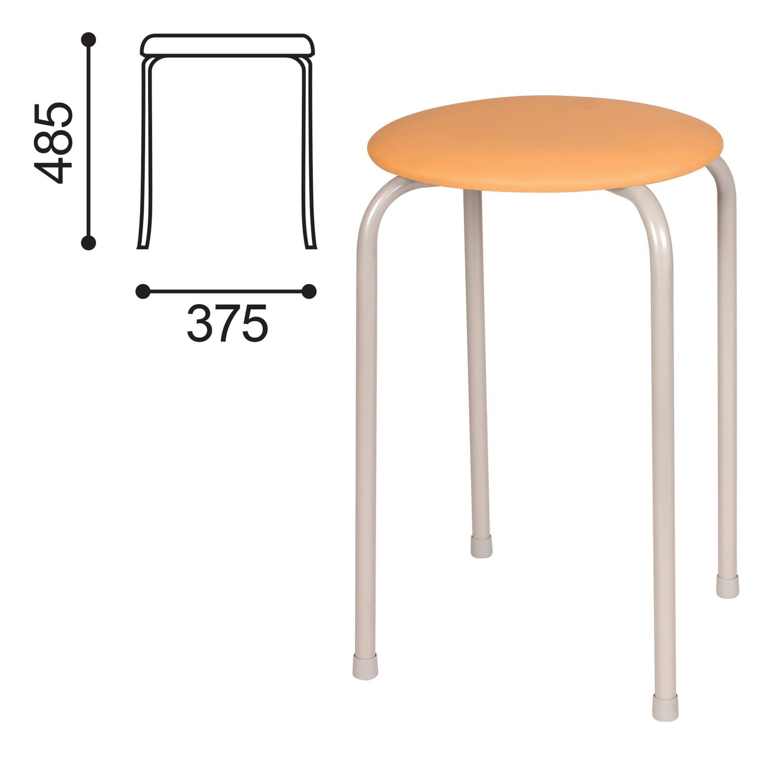 STOOL RS01-T011B, silver frame, sand skin