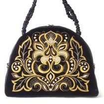 Velvet bag 'Victoria' in black with gold embroidery
