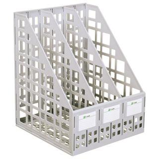 Tray vertical paper of STAMM (245х240х300 mm), 3 pockets, mesh, assembled, gray