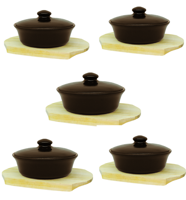 Vyatka ceramics / A set of containers for baking 0.5 l on a wooden stand (chocolate)