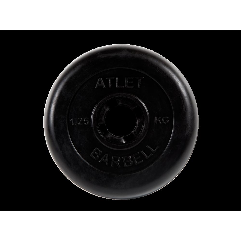 MB Barbell / Rubber disc, black, 26 mm, 1.25 kg Atlet