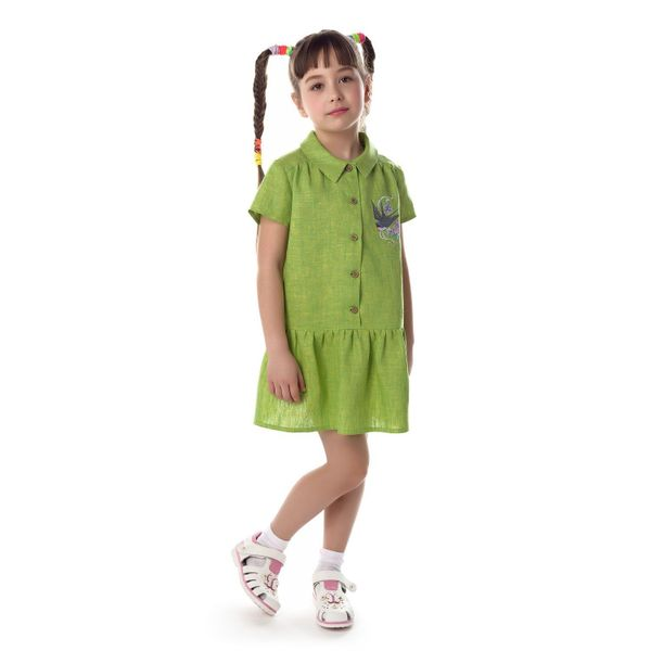 Children's blouse 'Marvelous Garden' green with silk embroidery bird