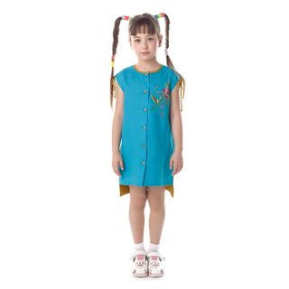 "Baby dress ""lovely garden"" blue with silk embroidery"