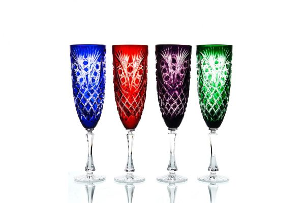 """Set of crystal glasses for water """"Pharaoh"""" multicolored 4 pieces"""