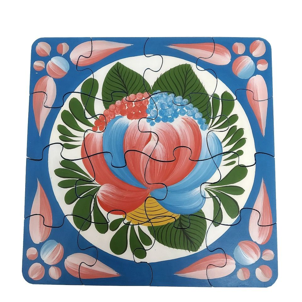"Volkhov painting / Souvenir puzzles ""Volkhov rose tree No. 8"" hand-painted"