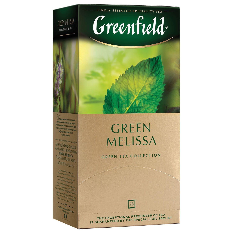 GREENFIELD / Green Melissa green tea, 25 sachets in 1.5 g envelopes