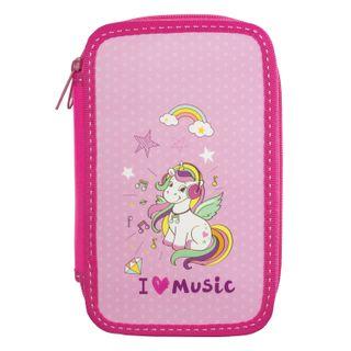 INLANDIA pencil case, 2 compartments, cardboard, fabric, the end, 19х11 cm, Music
