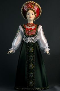 Doll gift porcelain. Traditional girl suit (styling). Late 19th - early 20th century. Russia.