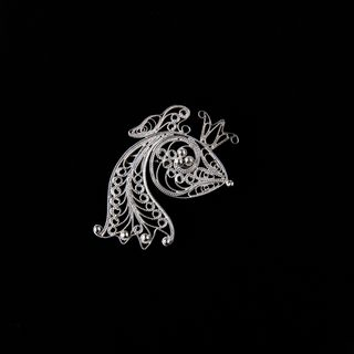 "Brooch ""Fish No. 2"" silvering, Kazakovo Filigree"