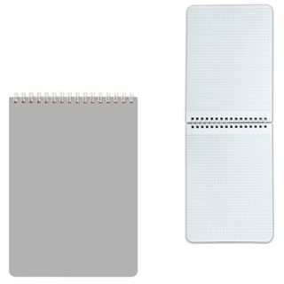 HATBER / Silver notepad, 60 sheets A5 (145х212mm), comb, varnished, cage