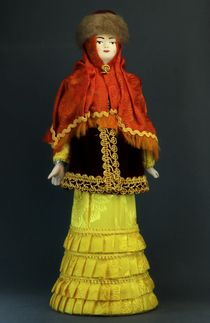 Doll gift porcelain. Kazan lips. Russia. Women's festive costume. The late 19th century and early 20th century.