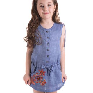 "Blouse children's ""Caramel"" blue with silk embroidery"