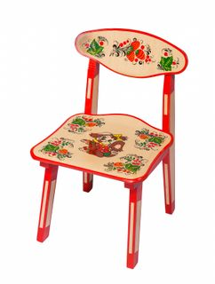 "Khokhloma painting / Wooden children's chair ""Dog"", 1 height category"