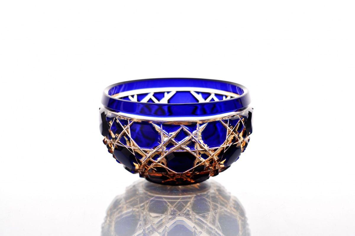 "Crystal vase for the table ""Evgeniya"" small amber-blue"
