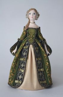 Doll gift. Doll gift porcelain. Secular suit of Catherine's era. Europe