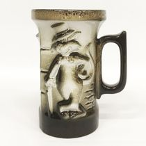 Stylish cat - ceramic mug with a relief image