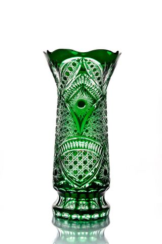 "Crystal vase for flowers ""Monastyrskaya"" large green"