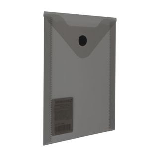 Folder-envelope with button SMALL FORMAT (105х148 mm), A6, tinted black, 0.18 mm, BRAUBERG