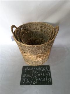Wicker baskets, set of 3 pieces
