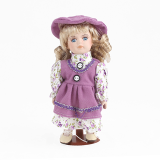 Porcelain doll Girl purple dress, a floral shirt