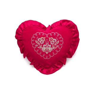 "Pillow cushion ""With love"" red color with Golden embroidery"