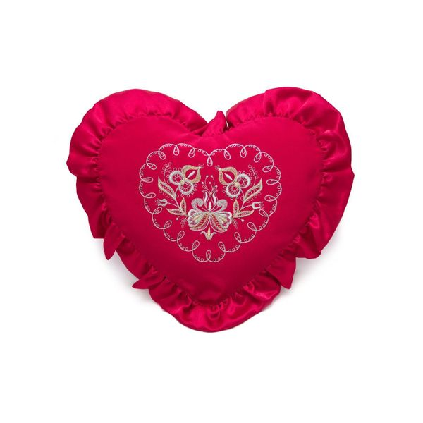 Pillow cushion 'With love' red color with Golden embroidery