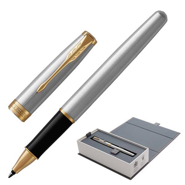 Rollerball pen PARKER 'Core Sonnet Steel GT', body silver-plated details, black
