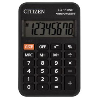 Pocket calculator CITIZEN LC-110NR, SMALL (89x59 mm), 8 digits, battery powered, BLACK