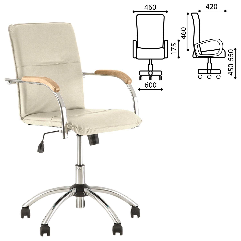 "Armchair ""Samba GTP"", wooden overlays, chrome, beige leatherette"