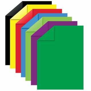 Cardboard colour A4 2-sided COATED, 7 sheets, 7 colors, in the folder of ONLANDIA, 200х290 mm