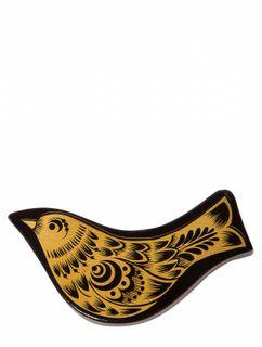"""Khokhloma painting / Wooden magnet """"Bird"""" black"""