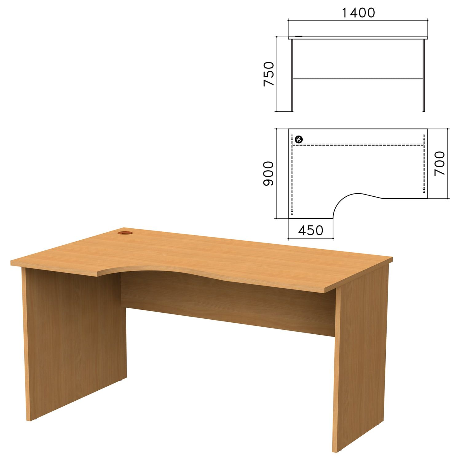 "Table written ergonomic ""Monolith,"" 1400s900s750 mm, left, color beech Bavaria"