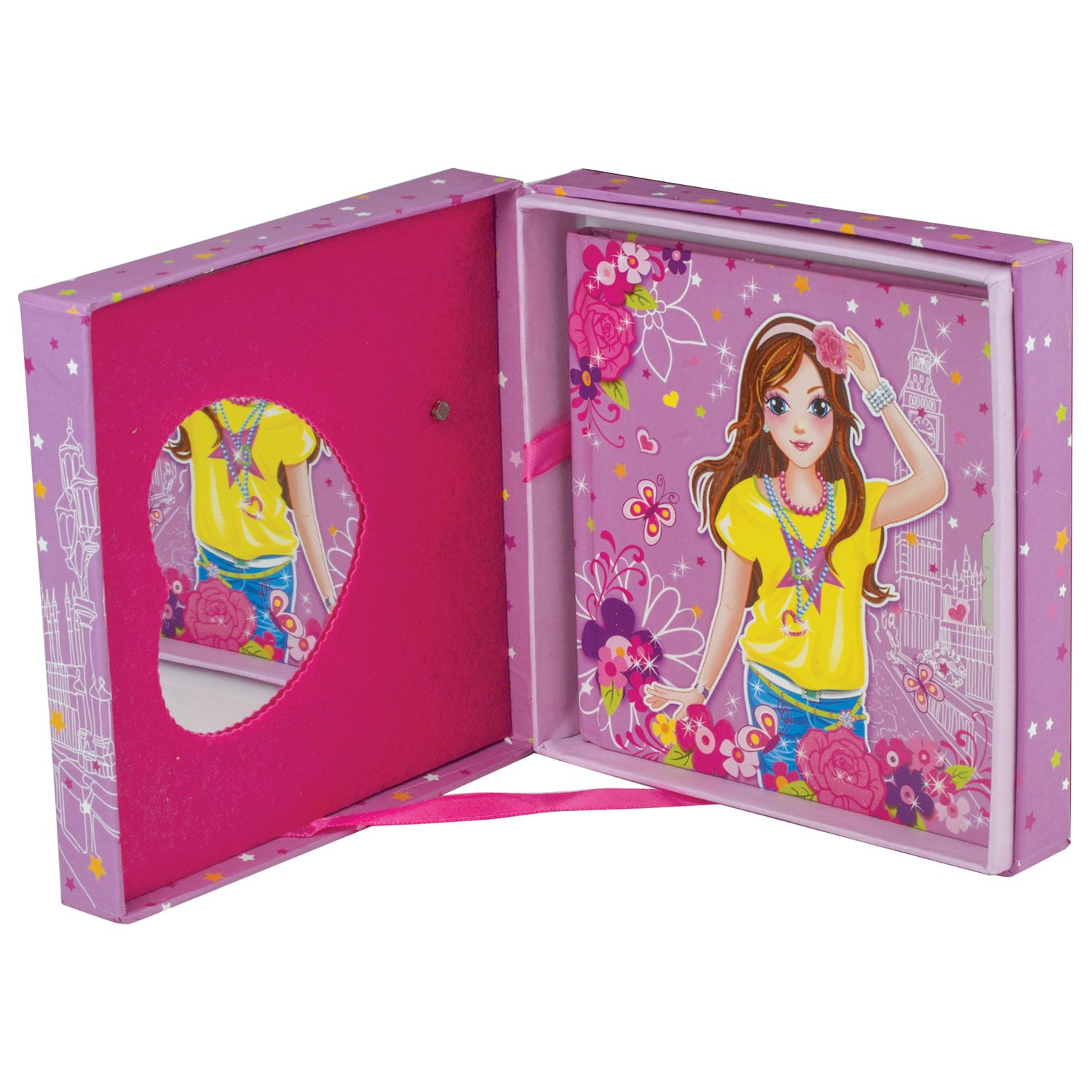 """BRAUBERG / Notebook """"Fashionista"""" SMALL FORMAT (130x130 mm) A6, 56 sheets, hardcover, metal. lock, gift wrap, music + mirror, line"""