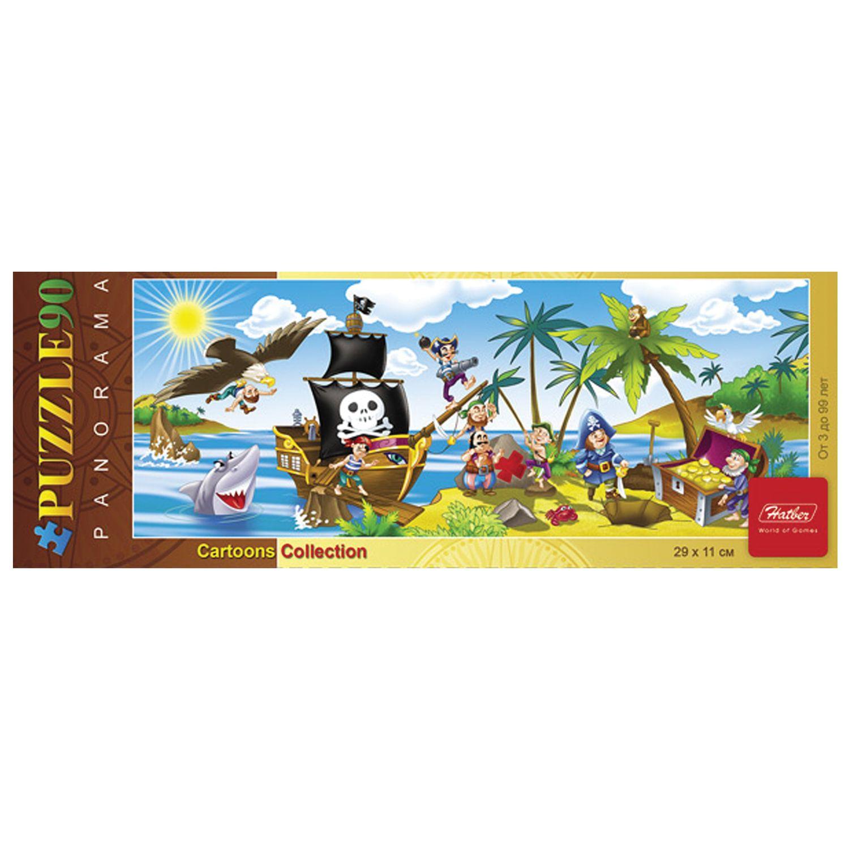 "Puzzle panorama, 90 elements, A4, ""treasure Island"", 290х110 mm"