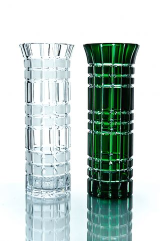 "Crystal vase for flowers ""Beads"" medium green"