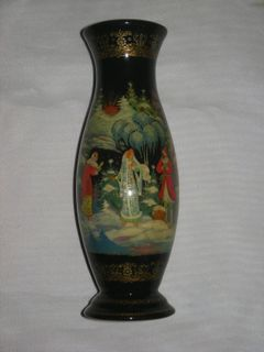 "Palekh lacquer miniature. Vase ""Snow Maiden"""