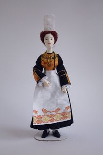 Doll gift. Women's costume of the 20th century. Brittany. French.