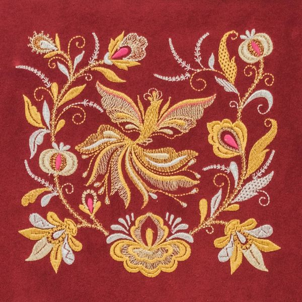 Painting 'Spring' red color with Golden embroidery