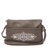 Bag in eco-leather Rhapsody beige color with silver embroidery