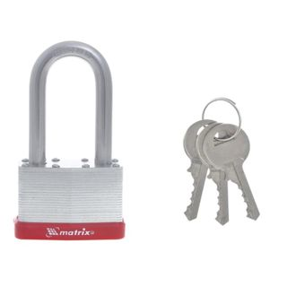 Padray lock, 65 mm wide, steel, chrome elongated arch d-11 mm, English, 3 keys, MATRIX